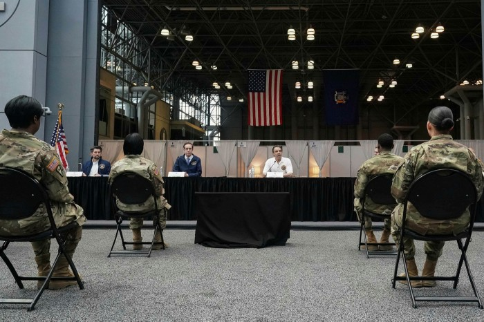 New York governor Andrew Cuomo at the Javits Center in March