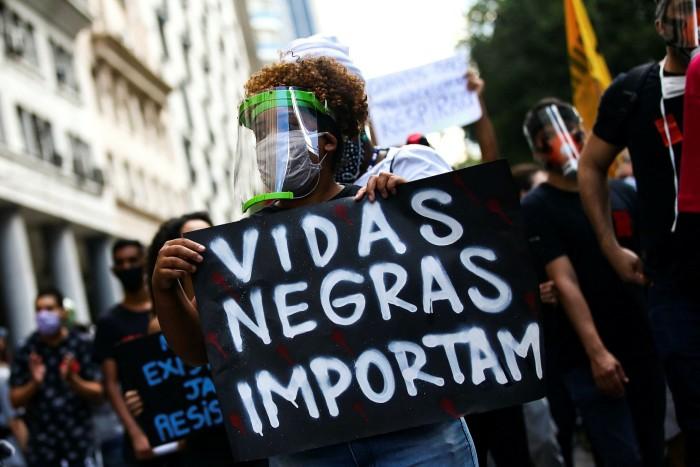Black Lives Matter protesters in Rio de Janeiro, Brazil