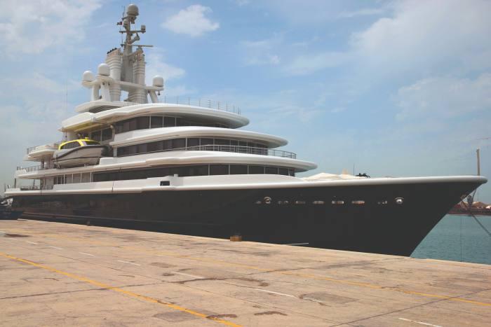 Farkhad Akhmedov's yacht Luna, moored in Dubai