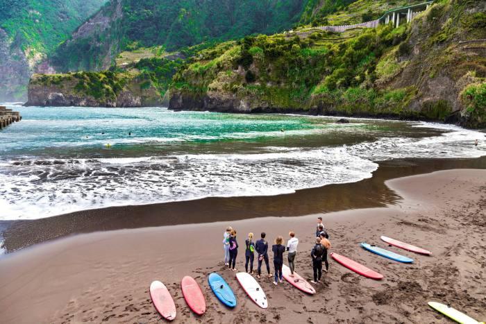 A surf class at Seixal, Madeira