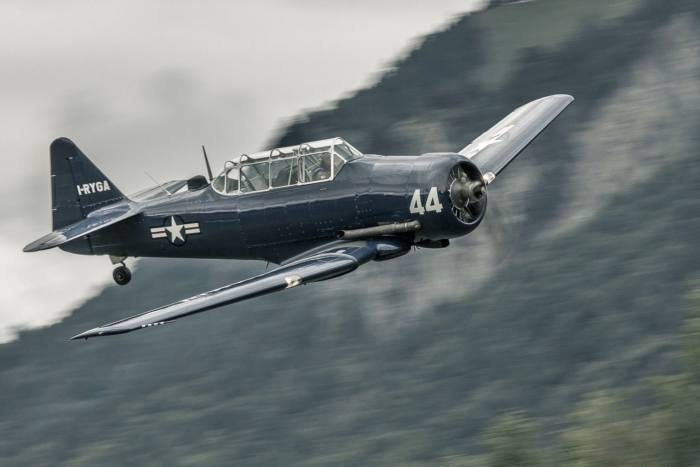 A 1951 Harvard, which is for sale at Boschung Global in Switzerland