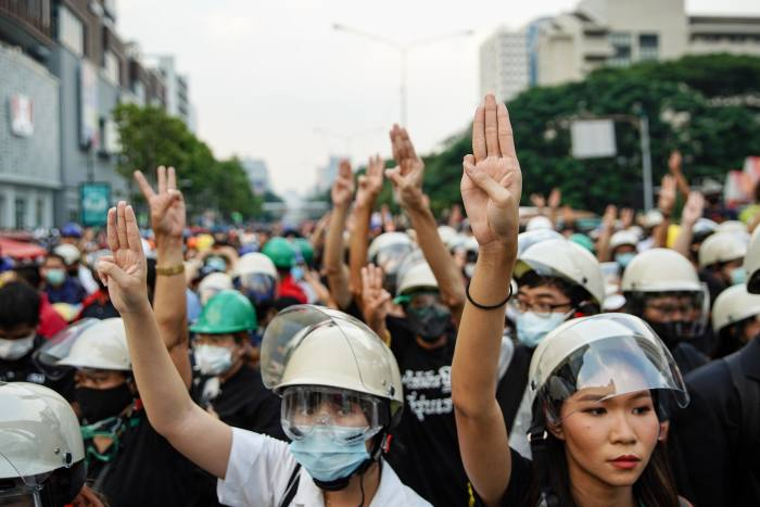 Thousands of protestors gather in Bangkok on October 26 to march to the German embassy . The king spends much of his time living in Bavaria. Activists want royal budgets to be cut as well as the abolition of the royal insult law that jails those convicted of defaming the royal family for up to 15 years