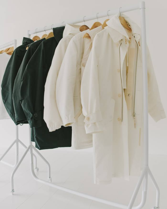A rail of Applied Art Forms outerwear