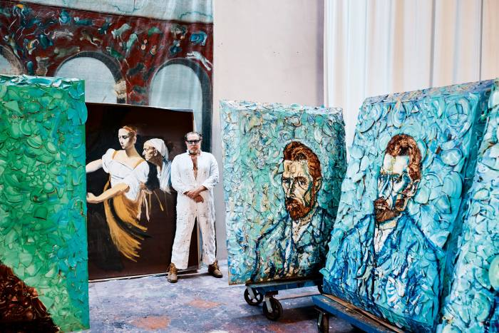 Julian Schnabel with van Gogh Self-Portraits