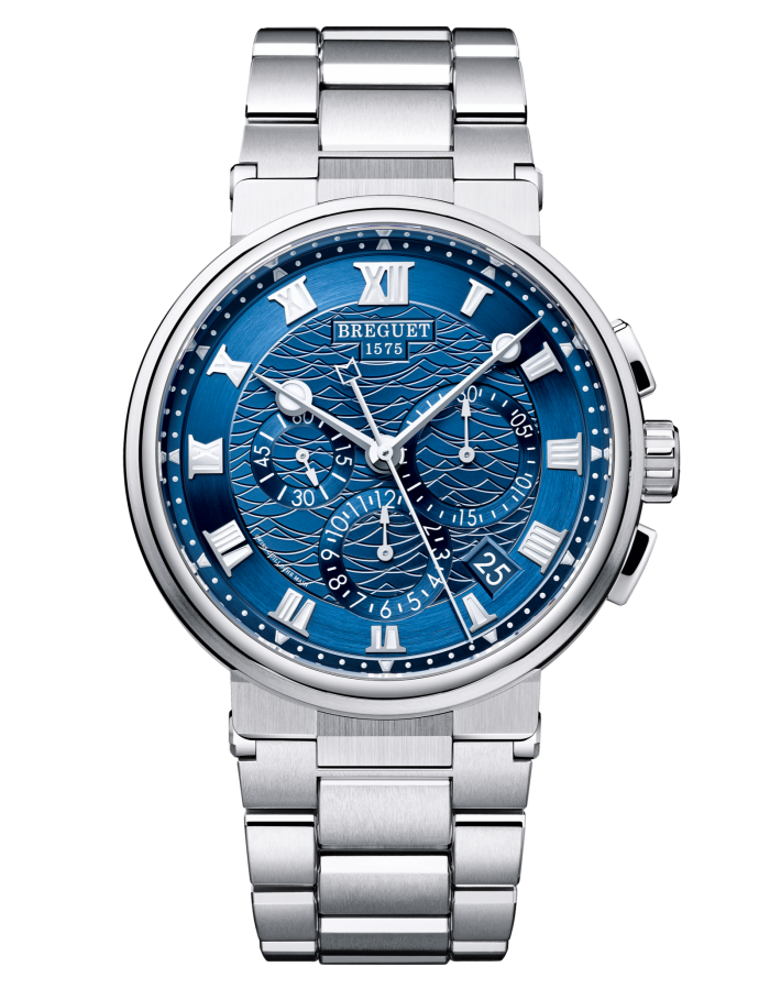 Breguet's most recent model to support the Race for Water Foundation, which raises awareness of ocean pollution, is the Marine 5527 Chronograph (£48,900)