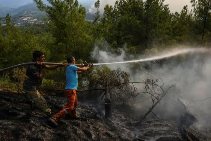Villagers water trees to stop the wildfires that continue to rage in the forests in Manavgat, Antalya, Turkey © AP