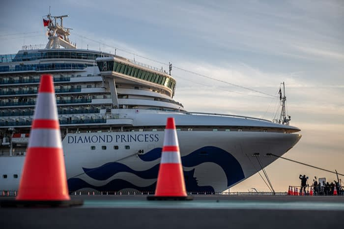 The Diamond Princess cruise ship at port in Japan in February, when tests of all the passengers provided an early insight into the virus