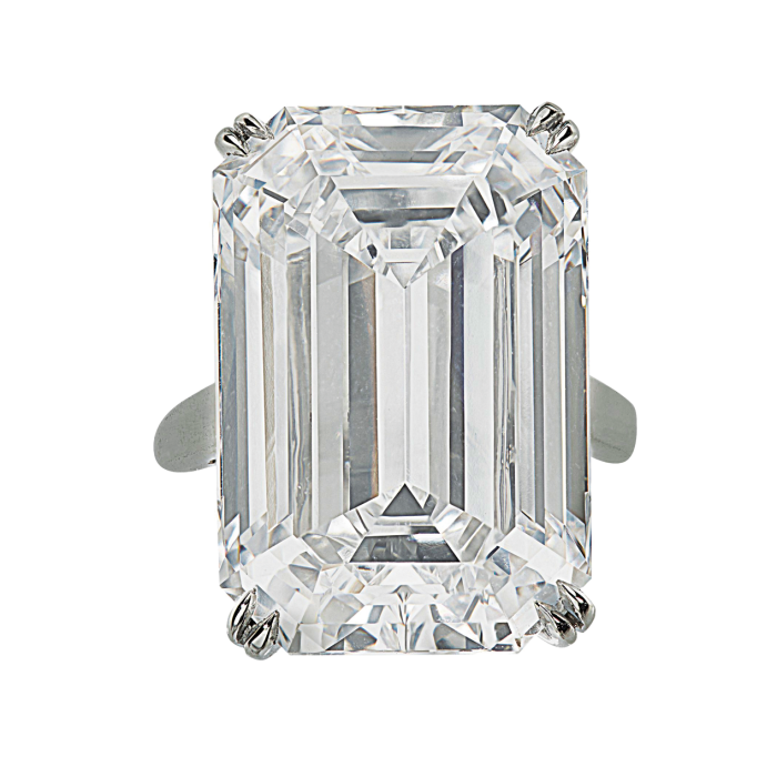Emerald-cut 28.86ct D-colour, type-IIA diamond, sold at Christie's for $2.1M