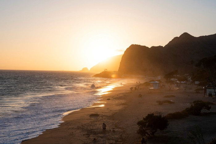 Sunset at Point Mugu beach, along the Pacific Coast Highway. One projection says rising sea levels could add 9 feet of water along the California coast by the end of the century