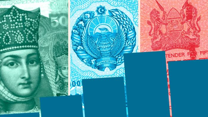 Montage of banknotes and chart