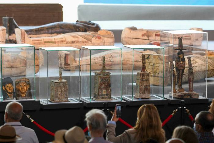 An exhibition of some of the ancient artefacts found at Saqqara