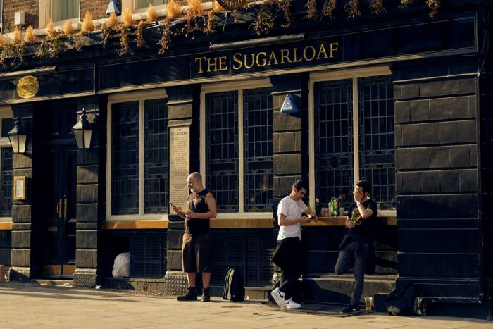 Outside the Sugarloaf pub on Cannon Steet, City of London on June 23