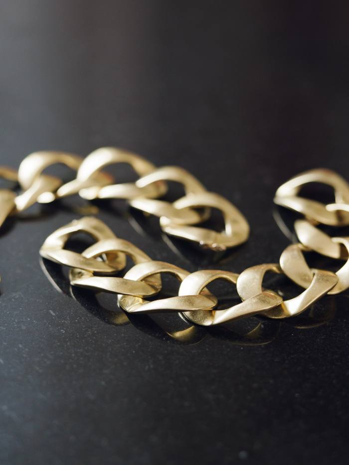 Bromberg Hawkings' gold chain link bangles, a gift from Tom Ford