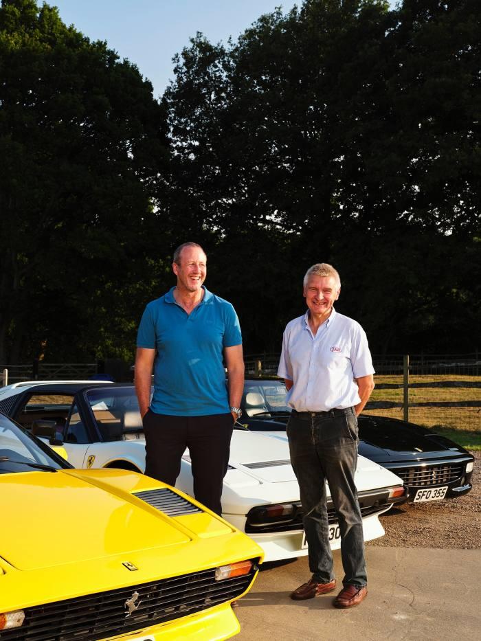 James Anderson (left) and Jonathan Rose with (from left) aFerrari 308 Koenig-Specials, Ferrari 308 GTSi QV and Ferrari 355.