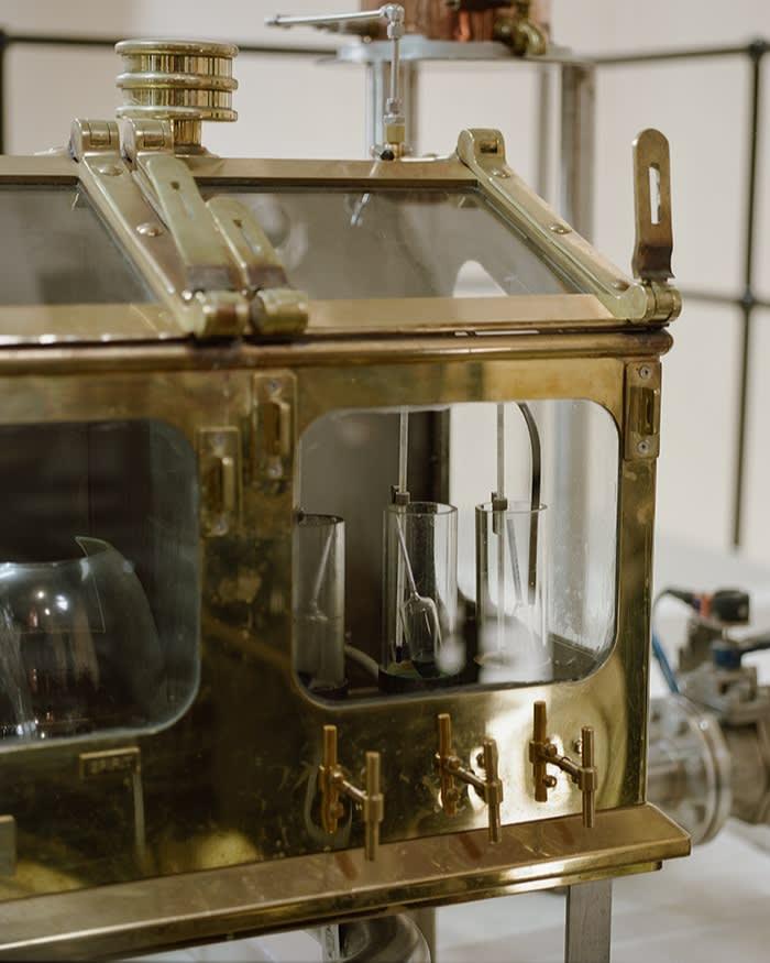 A close-up of a spirit safe at the Brora distillery