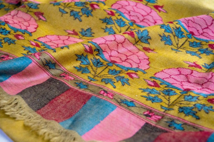 A finely woven shawl from Kashmir Loom, which focuses on preserving artisan techniques
