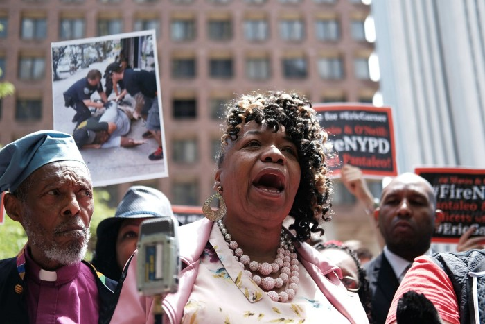 Gwen Carr, mother of Eric Garner, outside police headquarters in Manhattan. It took five years — and much public pressure — before the police commissioner fired Daniel Pantaleo, the officer who caused Garner's death