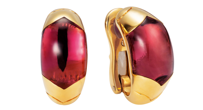 Bulgari gold and pink tourmaline Tronchetto ear clips, late-20th century, £3,350
