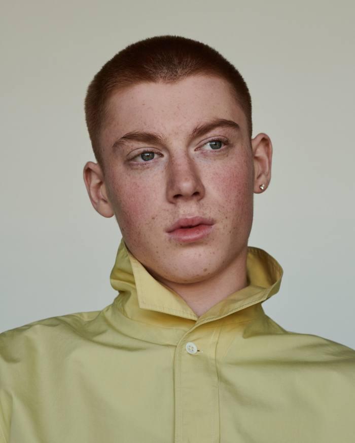 Joe wears Margaret Howell cotton-poplin shirt, £365. Earring, model's own