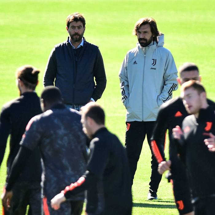 Juventus coach Andrea Pirlo, back right, with club president Andrea Agnelli, who is spearheading efforts to reform existing continental competitions