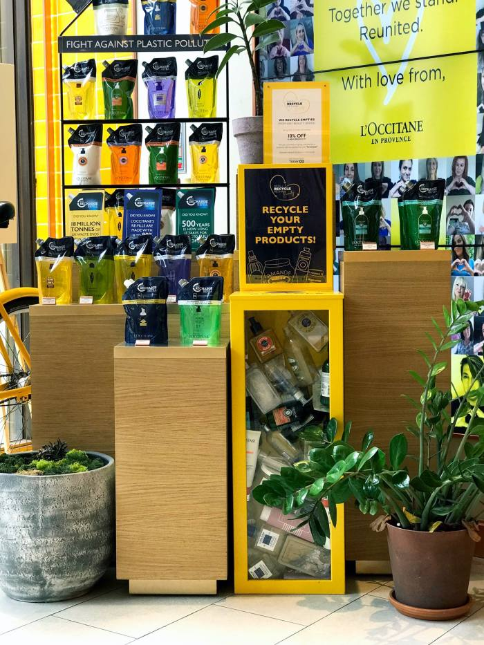 L'Occitane in-store recycling point