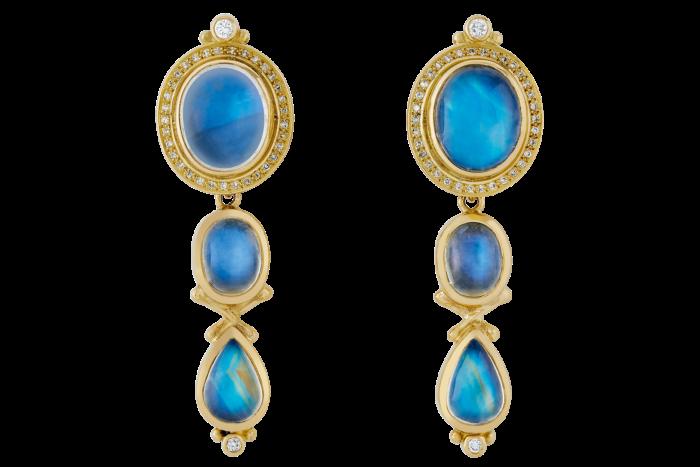 Elizabeth Gage blue moonstone, diamond and gold earrings, £12,000