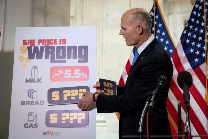 Republican Rick Scott, who is leading his party's efforts to win control of the Senate next year, says: 'As the product of a single-parent household, I know just how hard this inflation is hurting families trying to make it work on shoestring budgets'
