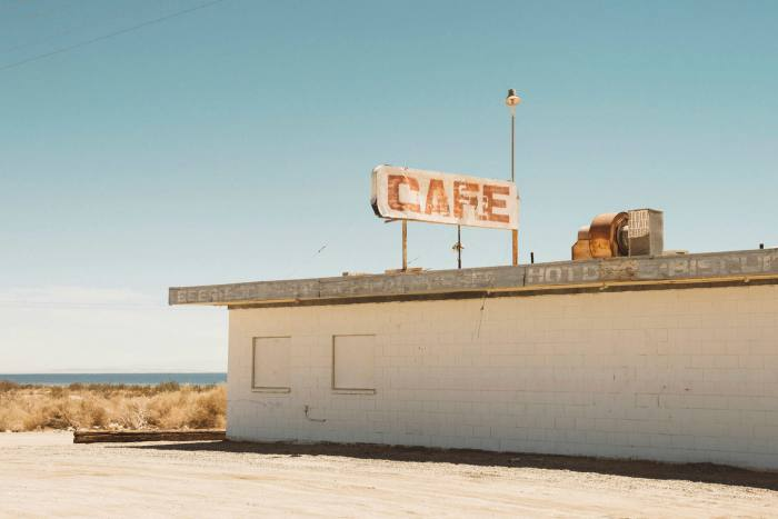 An abandoned café. The sea began to shrink and the whole region became a dustbowl