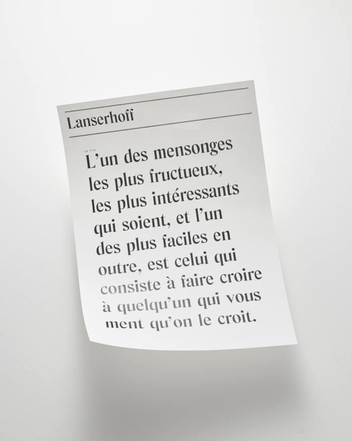 Zwei Schriften der in Paris ansässigen Designagentur Touhami, Art Recherche Industrie (ARI): Lanserhoff.  .  .