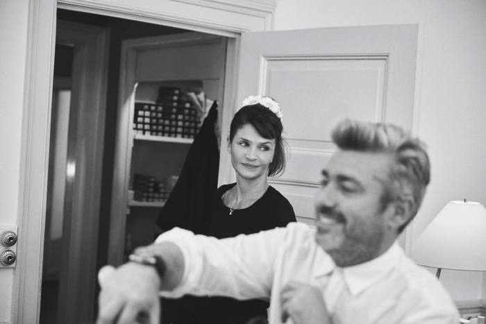Helena Christensen with Mahony in the salon, 2018