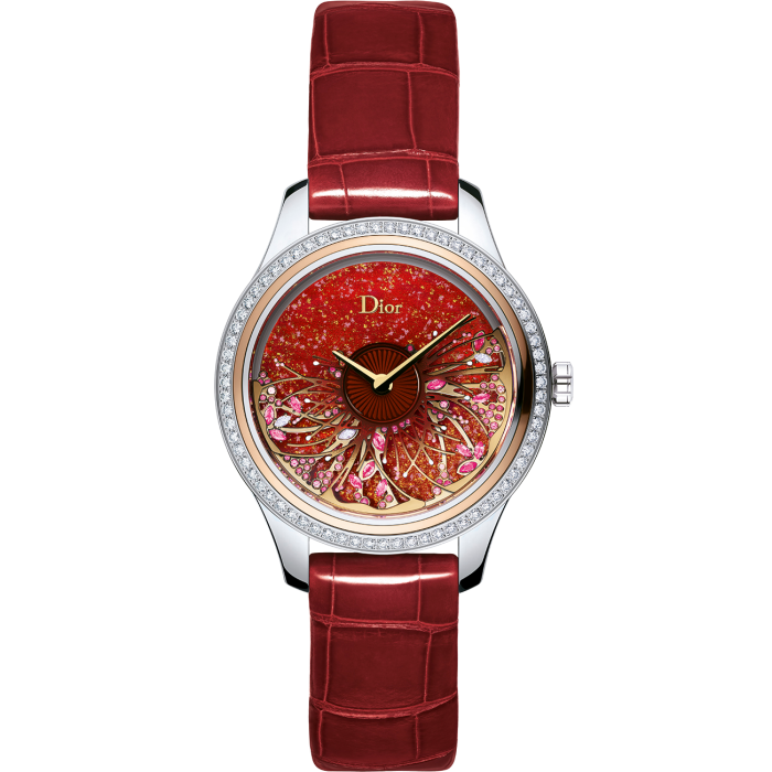 Dior Grand Bal Jardin Fleuri: red mother-of-pearl dial with diamonds, pink sapphires and rubies in a steel and pink-gold case, £27,000. Limited edition of 88