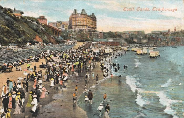 Postcard of South Sands at Scarborough in the early 1900s