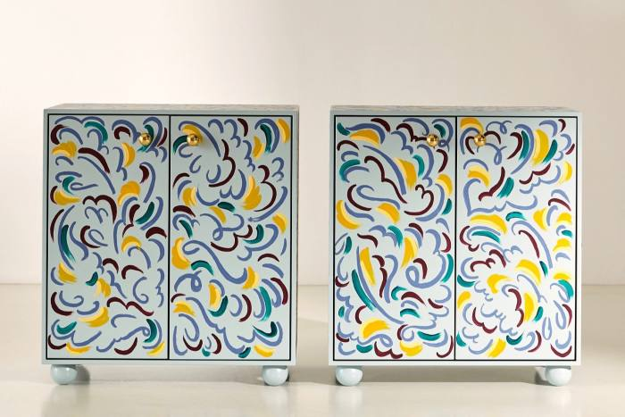 Palette cabinets with brushstrokes by artist Claire deQuénetain, £8,690for two
