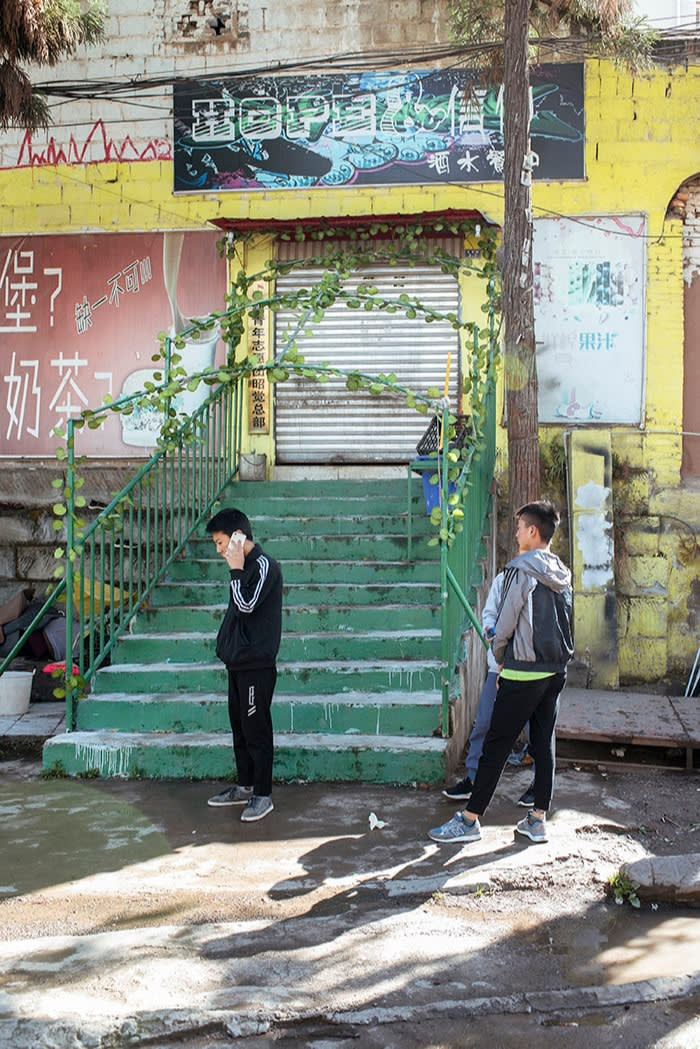 Outside the New Youth Volunteer Centre in Zhaojue