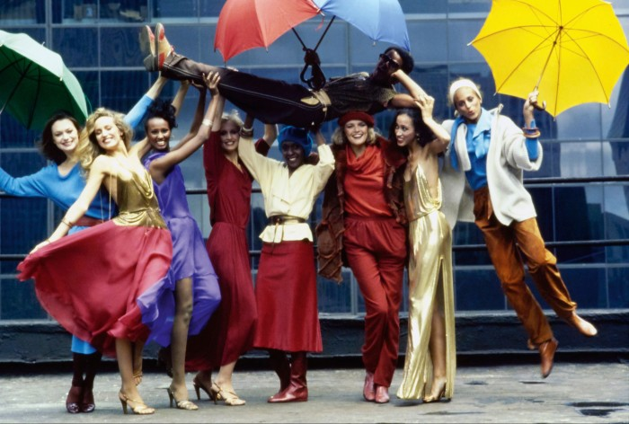 New York-based Stephen Burrows being lifted by models in a Vogue editorial from 1977