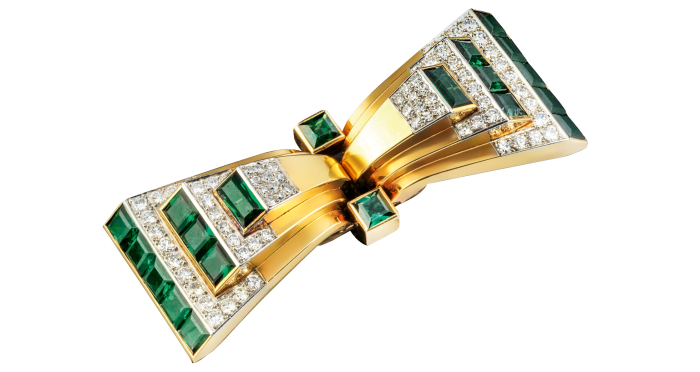 Cartier 18ct-gold, platinum, green tourmaline and diamond brooch/double clips, c1940s, £58,000