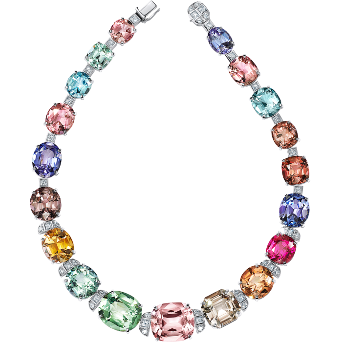 Tiffany necklace in platinum with colored gemstones of more than 278 carats and diamonds, POA