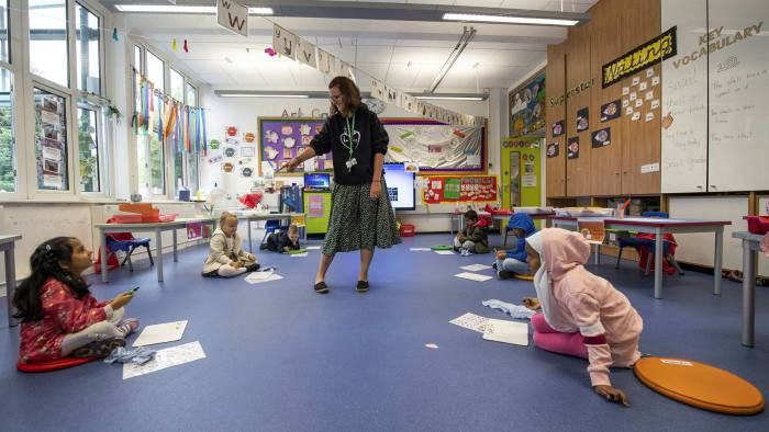 Pupils at Earlham Primary School in London are back in the classroom and following social distancing