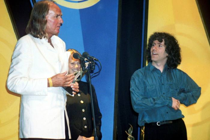 Isserlis with John Taverner, who wrote 'The Protecting Veil' for him at a delightful reception
