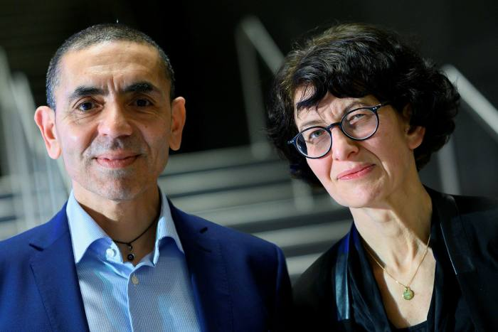 Ugur Sahin and his wife Ozlem Tureci the founders of the German vaccine developer BioNtech