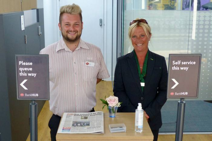 Community service: Cal McCall, manager of Bank Hub, and Tanya Davis, community banker with Lloyds Bank, say Rochford's customers appreciate a face-to-face service