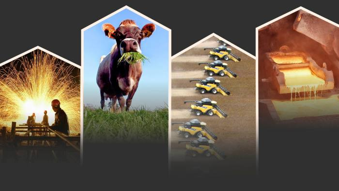 A photo montage of a steel factory, a cow, tractors and iron smelter