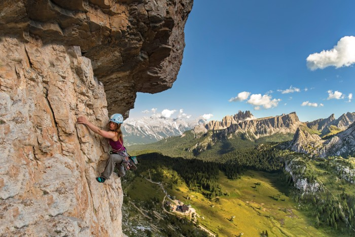 Lynne Hempton climbing Torre Grande in the Dolomites, Italy