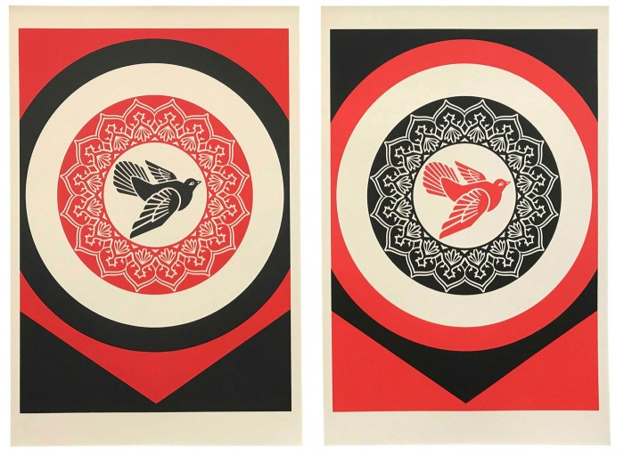 Shepard Fairey's print series 'Rise From the Ashes' (2020)