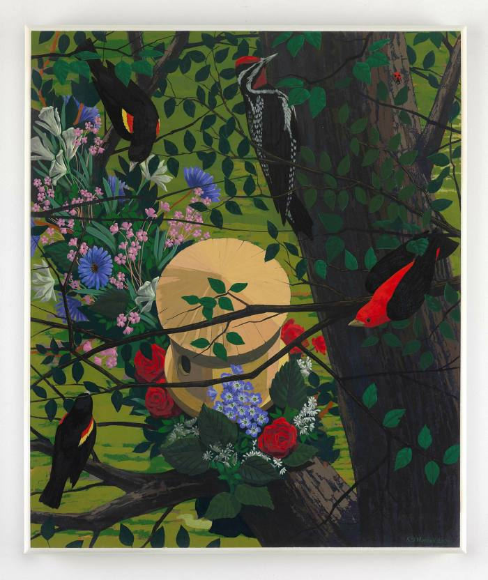 Kerry James Marshall's 2021 painting Black and part Black Birds in America will be on exhibition in London as part of David Zwirner Gallery's livestreaming event, Program