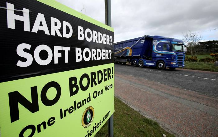 A poster in Northern Ireland calling for 'No Border' on the island of Ireland after Brexit