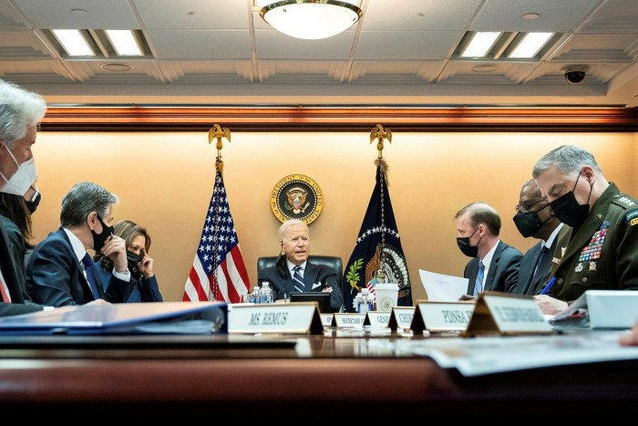 President Joe Biden meets with his National Security team of (L-R)secretary of state Tony Blinken, vice-president Kamala Harris, national security adviser Jake Sullivan, secretary of defence Lloyd Austin and chairman of the joint chiefs General Mark Milley to discuss the situation in Afghanistan in the Situation Room of the White House last week