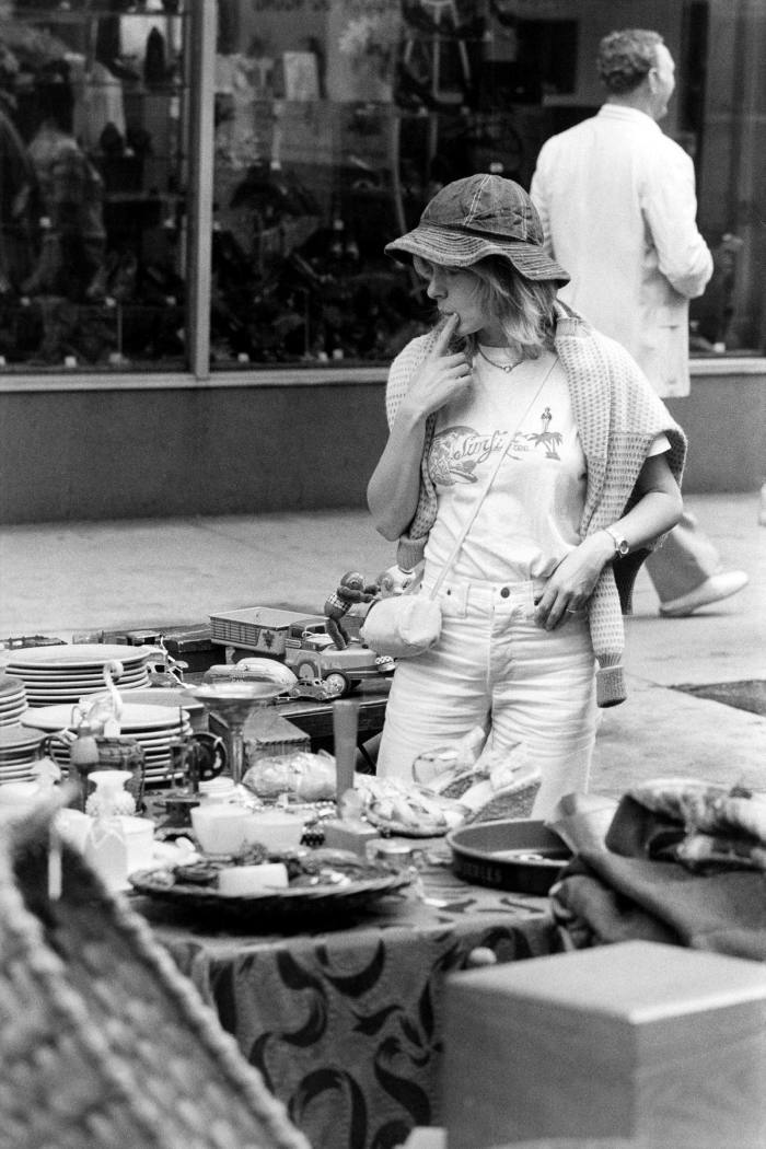 French singer France Gall in a New York flea market, 1970s