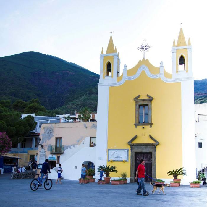 The main piazza in the town of Santa Marina on Salina