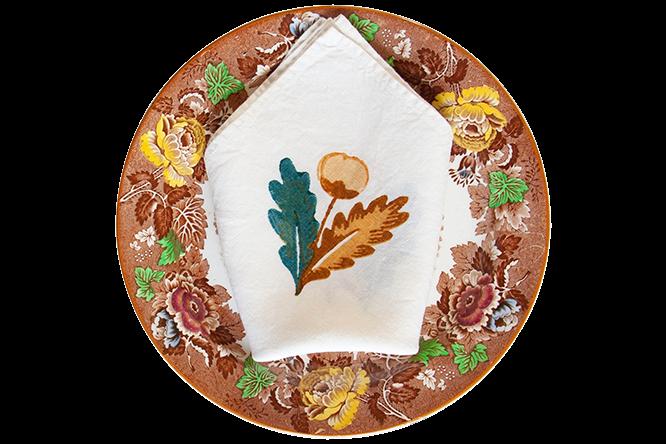 Quercina oak leaf and acorn napkins by Bertozzi